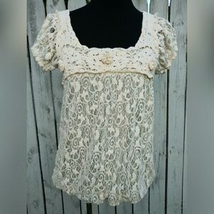 Max Studio lace overlay blouse